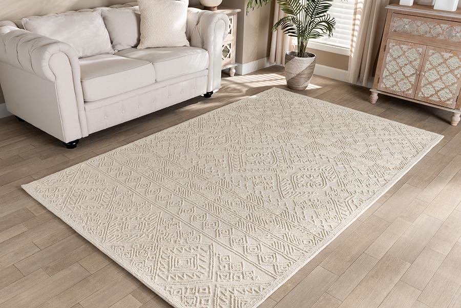 Linwood Ivory Hand Tufted Wool Area Rug | Baxton Studio