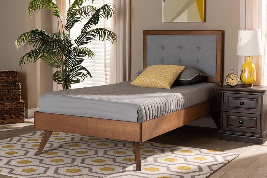 Alida Light Grey Fabric Walnut Wood Twin Platform Bed | Baxton Studio