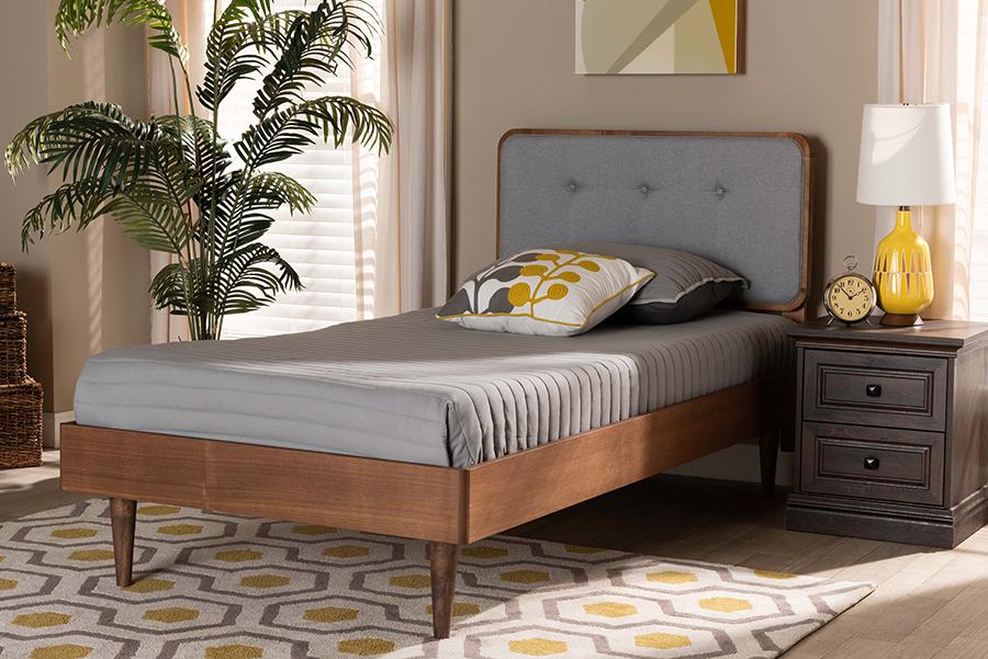 Cilka Light Grey Fabric Ash Walnut Wood Twin Platform Bed | Baxton Studio