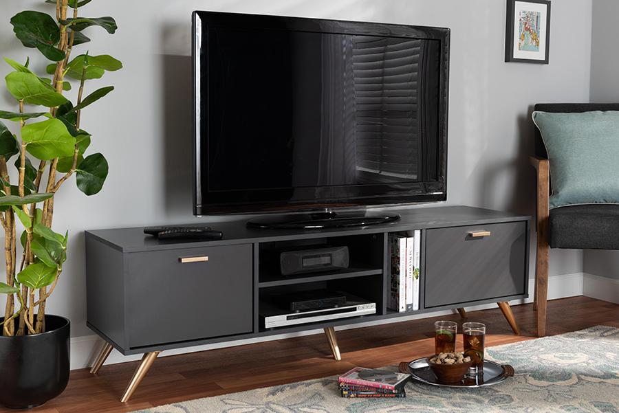 Kelson Dark Grey Gold Wood TV Stand | Baxton Studio