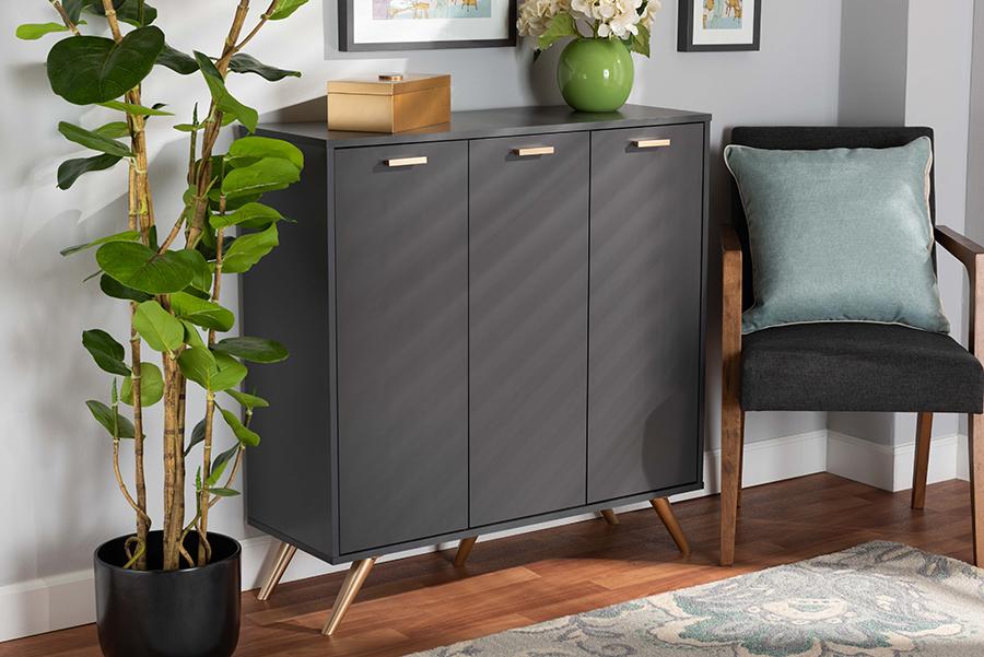 Kelson Dark Grey Gold Wood 3 Door Shoe Cabinet | Baxton Studio