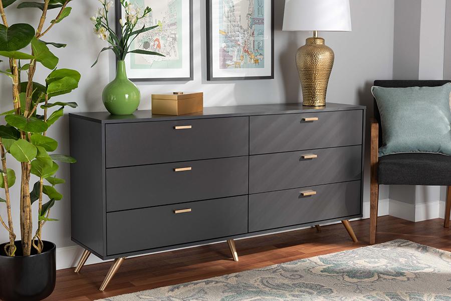 Kelson Dark Grey Gold Wood 6 Drawer Dresser | Baxton Studio