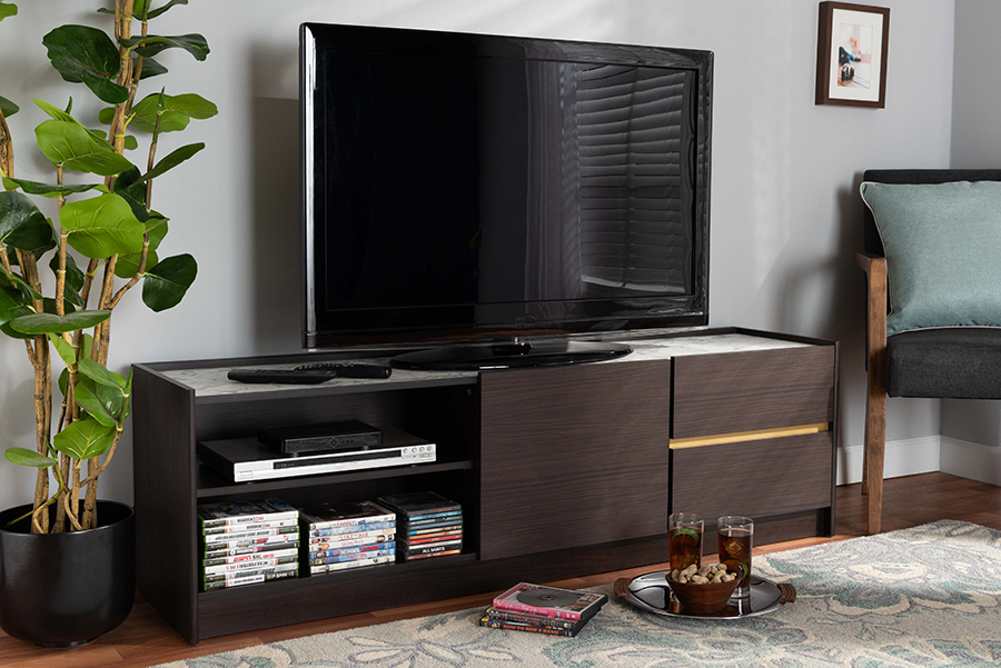 Walker Dark Brown Gold Wood TV Stand with Faux Marble Top | Baxton Studio