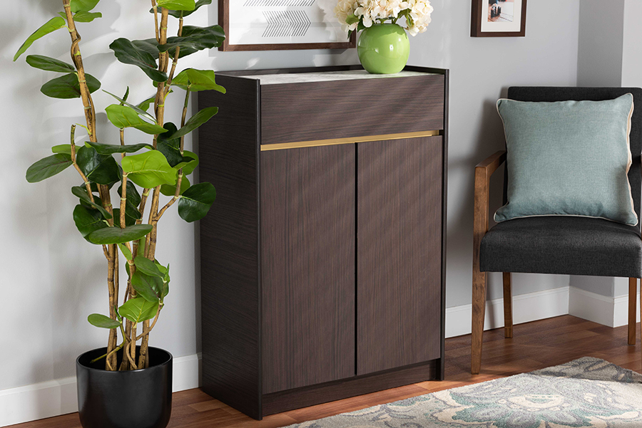 Walker Dark Brown Gold Wood Shoe Cabinet with Faux Marble Top   Baxton Studio
