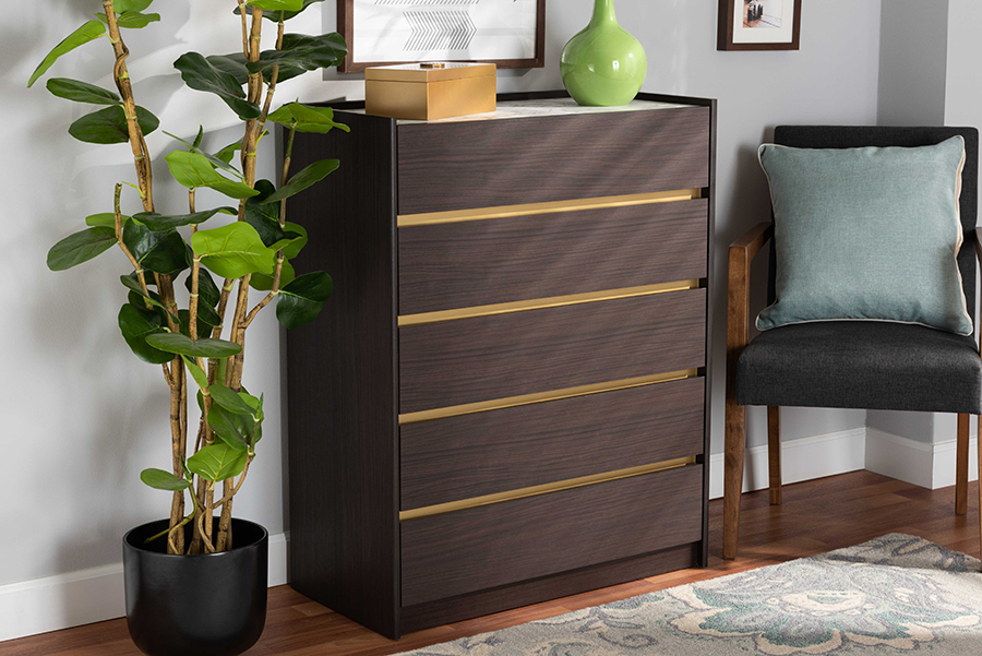 Walker Dark Brown Gold Wood 5 Drawer Chest with Faux Marble Top | Baxton Studio