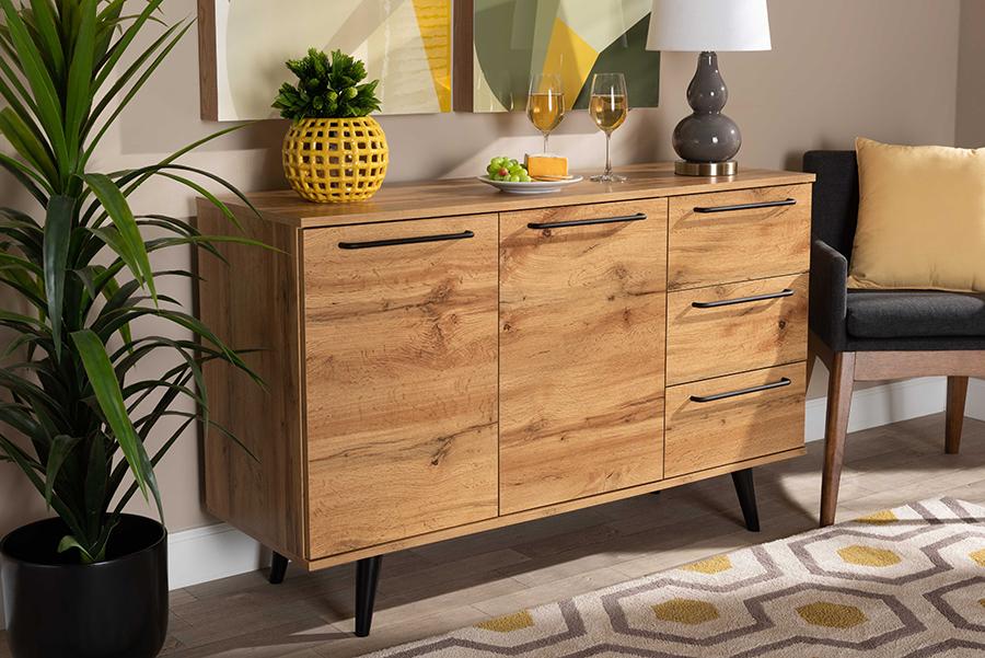 Radley Oak Brown Wood 3 Drawer Sideboard Buffet | Baxton Studio