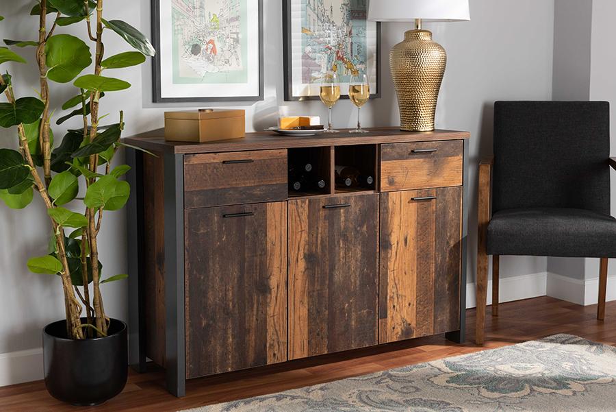 Ranger Brown Wood Grey Metal 2 Door Sideboard Buffet | Baxton Studio