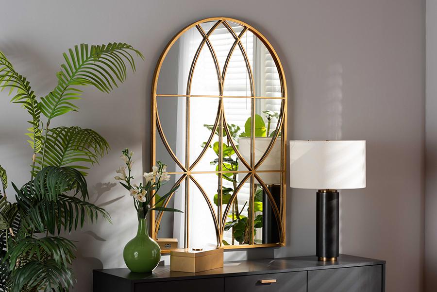 Celerina Gold Metal Accent Wall Mirror   Baxton Studio