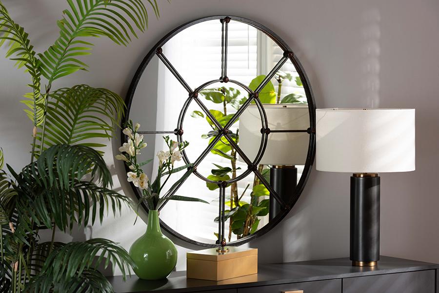 Ohara Black Metal Accent Wall Mirror | Baxton Studio