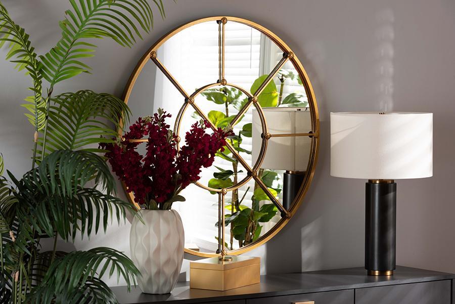 Ohara Gold Metal Accent Wall Mirror   Baxton Studio