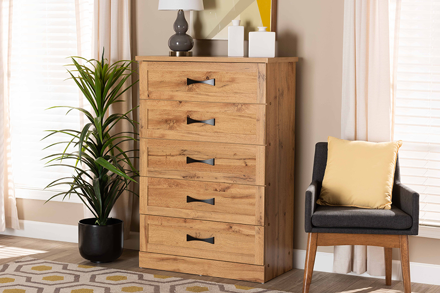 Colburn Oak Brown Wood 5 Drawer Tallboy Storage Chest   Baxton Studio