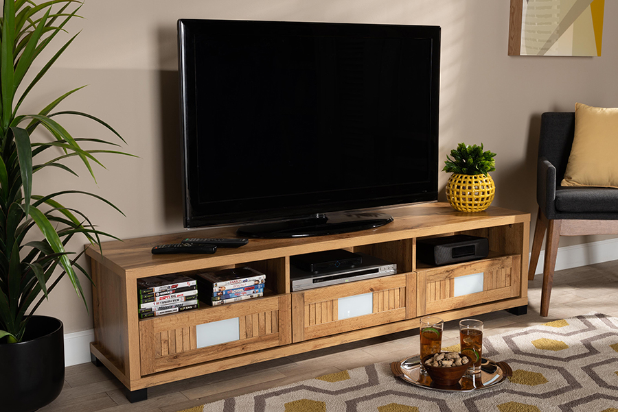 Gerhardine Oak Brown Wood 3 Drawer TV Stand | Baxton Studio