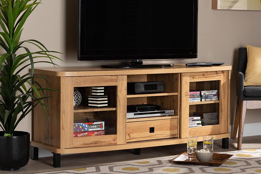 Walda Oak Brown Wood 1 Drawer TV Stand | Baxton Studio