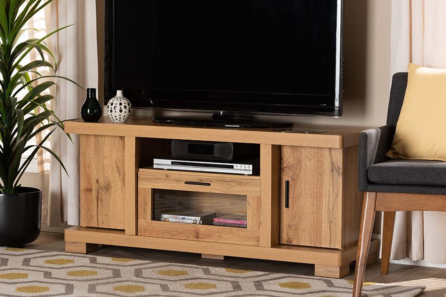 Viveka Oak Brown Wood 2 Door TV Stand | Baxton Studio