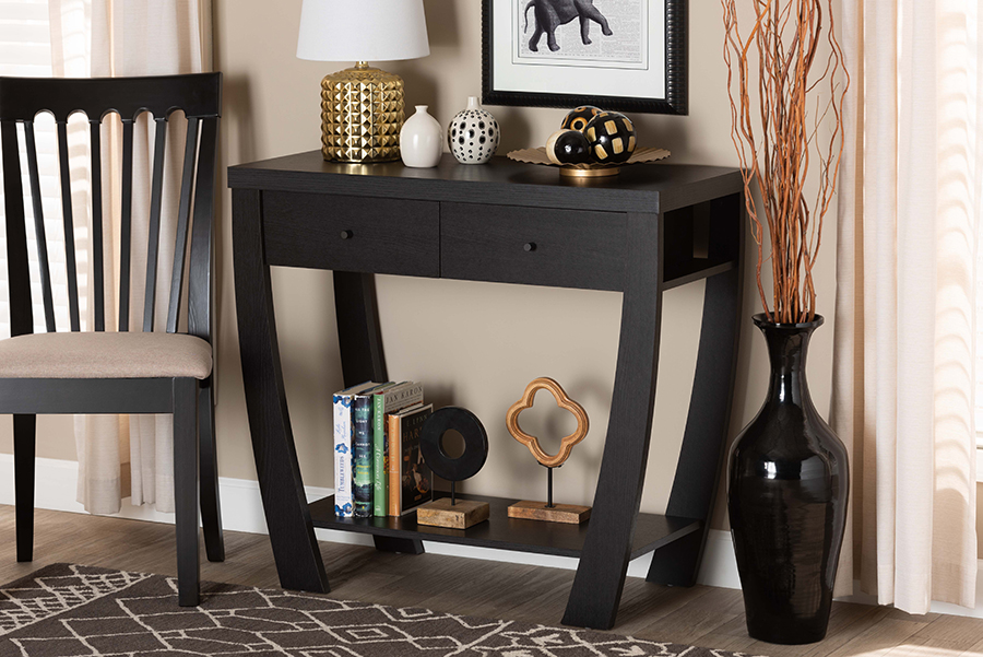 Capote Dark Brown Wood 2 Drawer Console Table   Baxton Studio