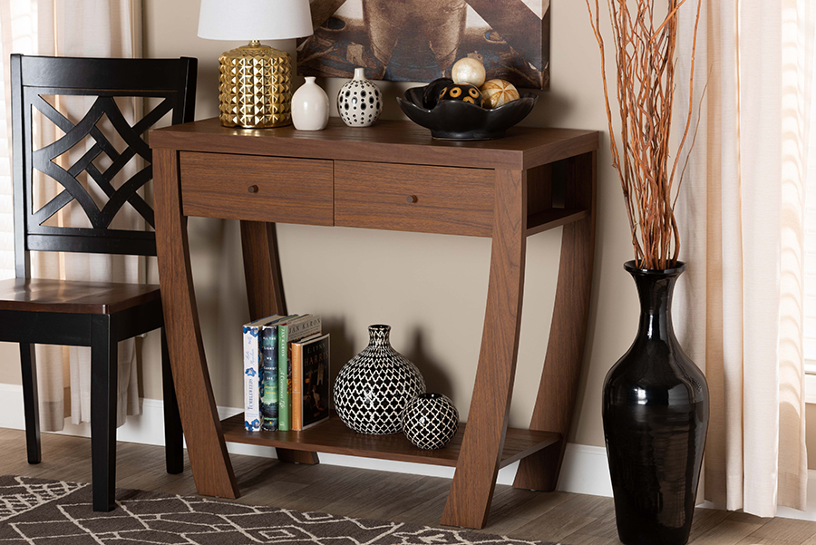 Capote Walnut Wood 2 Drawer Console Table | Baxton Studio
