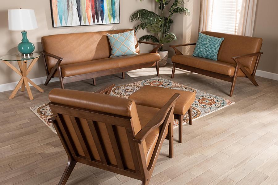 Bianca Walnut Wood Tan Faux Leather 4-pc Living Room Set   Baxton Studio