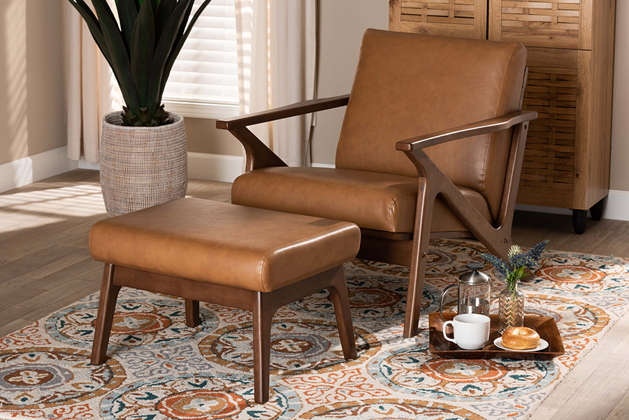 Bianca Walnut Wood Tan Faux Leather 2-pc Lounge chair Ottoman Set   Baxton Studio