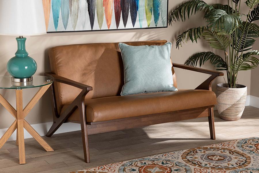 Bianca Walnut Wood Tan Faux Leather Loveseat | Baxton Studio