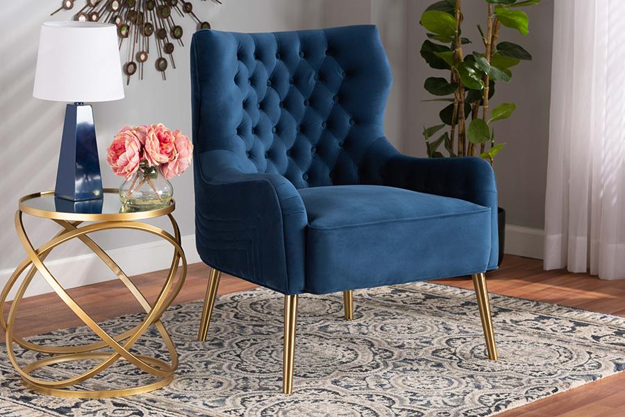 Nelson Navy Blue Velvet Fabric Gold Metal Armchair | Baxton Studio