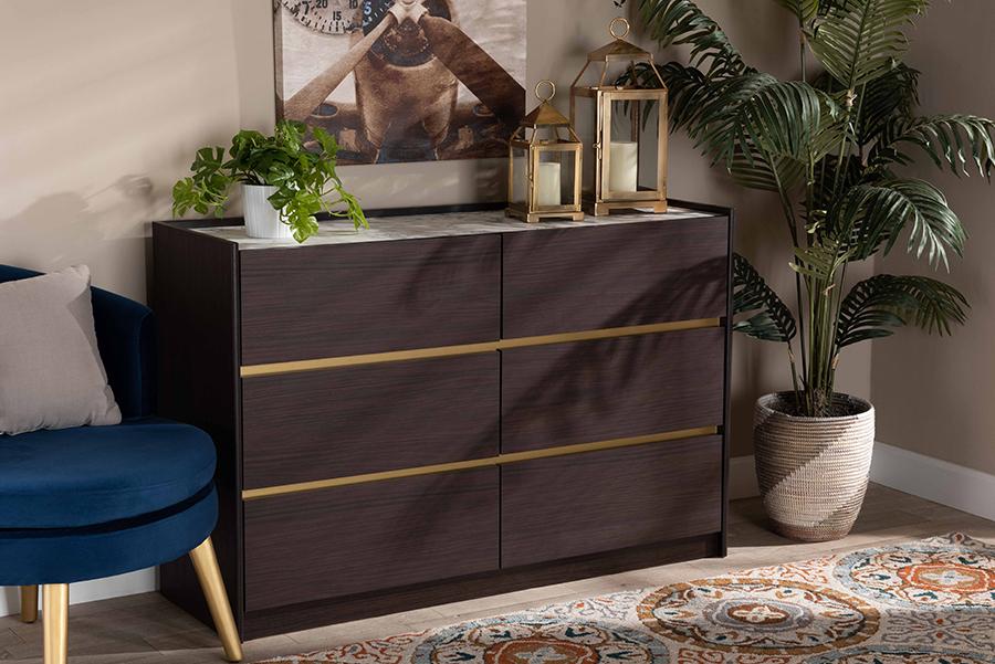 Walker Dark Brown Gold Wood 6 Drawer Dresser with Faux Marble Top | Baxton Studio