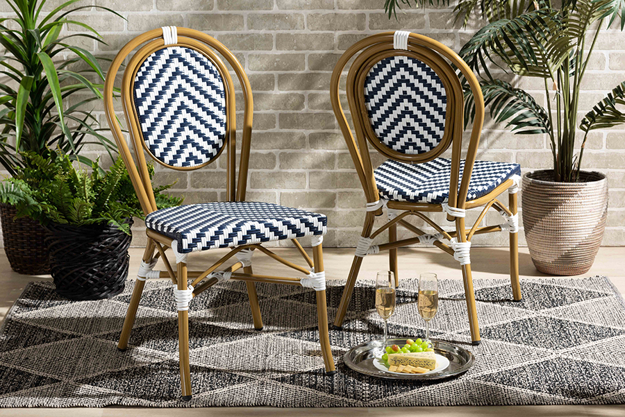 Alaire Blue White Stackable 2-pc Bistro Dining Chair Set | Baxton Studio