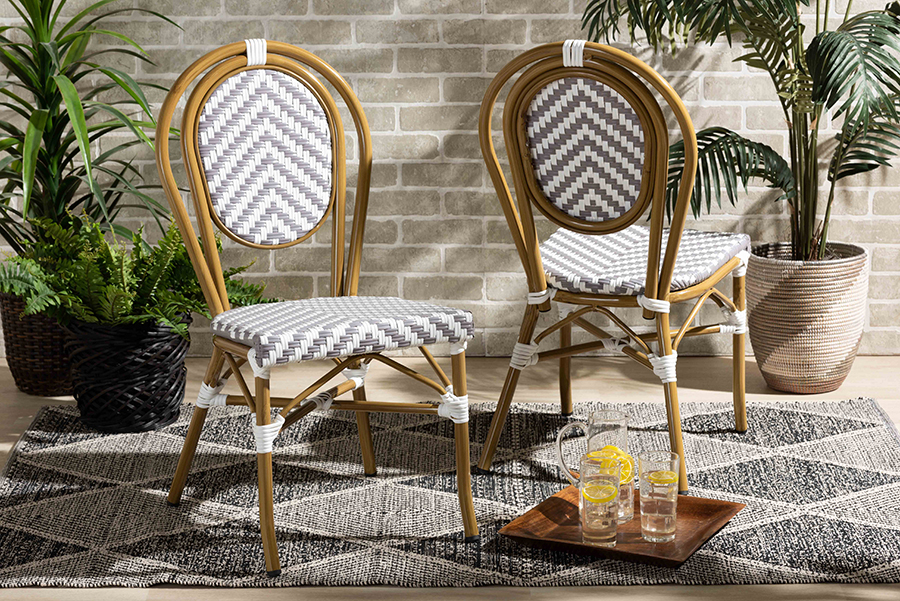 Alaire Grey White Stackable 2-pc Bistro Dining Chair Set | Baxton Studio