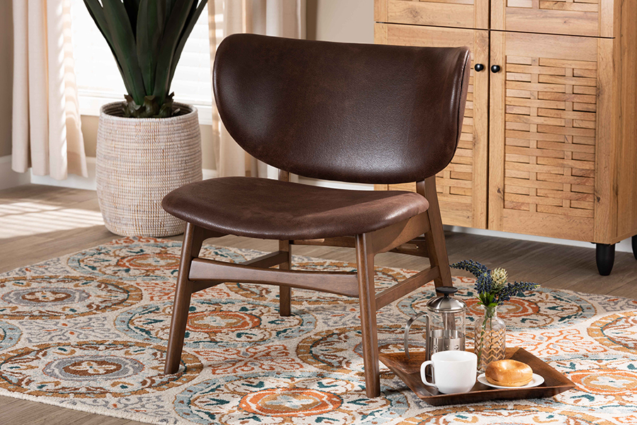Marcos Dark Brown Faux Leather Walnut Wood Living Room Accent Chair | Baxton Studio