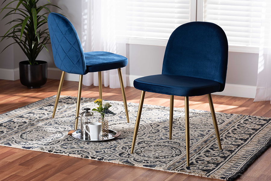 Fantine Navy Blue Velvet Fabric Gold Metal 2-pc Dining Chair Set | Baxton Studio