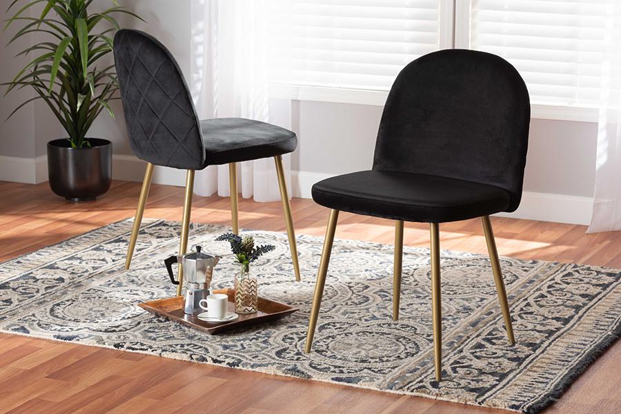 Fantine Black Velvet Fabric Gold Metal 2-pc Dining Chair Set | Baxton Studio