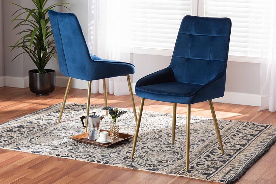 Gavino Navy Blue Velvet Fabric Gold Metal 2-pc Dining Chair Set | Baxton Studio