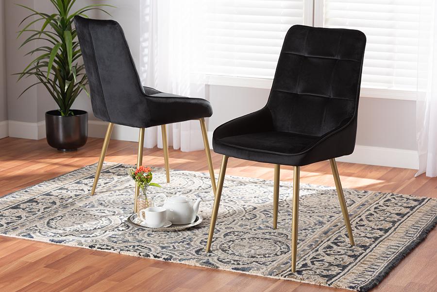 Gavino Black Velvet Fabric Gold Metal 2-pc Dining Chair Set | Baxton Studio