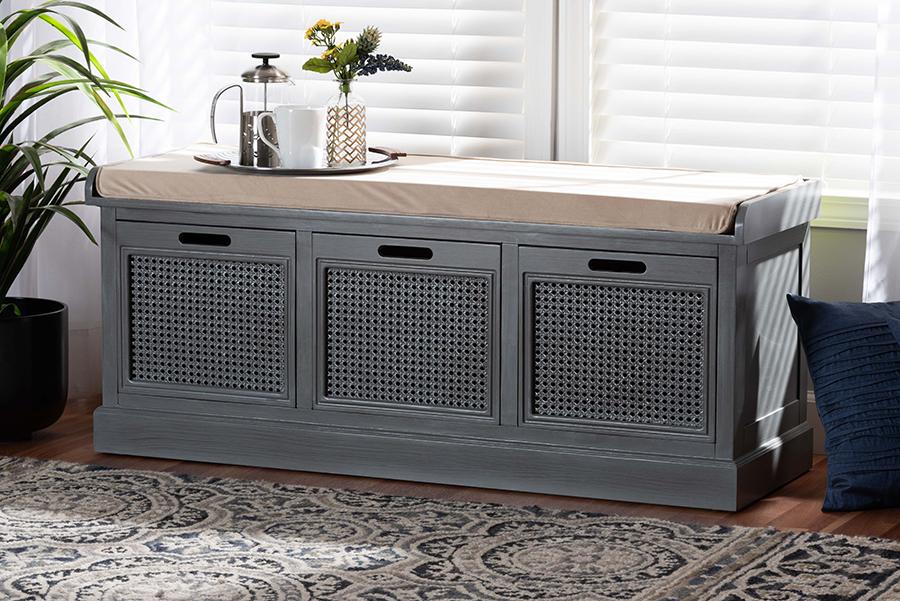 Sheldon Beige Fabric Grey Wood Synthetic Rattan 3 Drawer Shoe Storage Bench | Baxton Studio