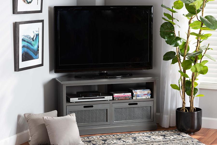 Sheldon Grey Wood Synthetic Rattan 2 Drawer Corner TV Stand | Baxton Studio