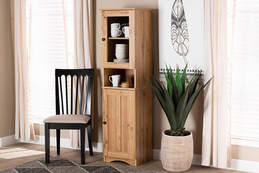 Lauren Oak Brown Wood Buffet Hutch Kitchen Cabinet | Baxton Studio