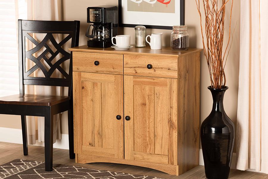 Lauren Oak Brown Wood 2 Door Buffet Kitchen Cabinet | Baxton Studio