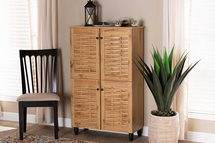 Winda Oak Brown Wood 4 Door Shoe Storage Cabinet | Baxton Studio