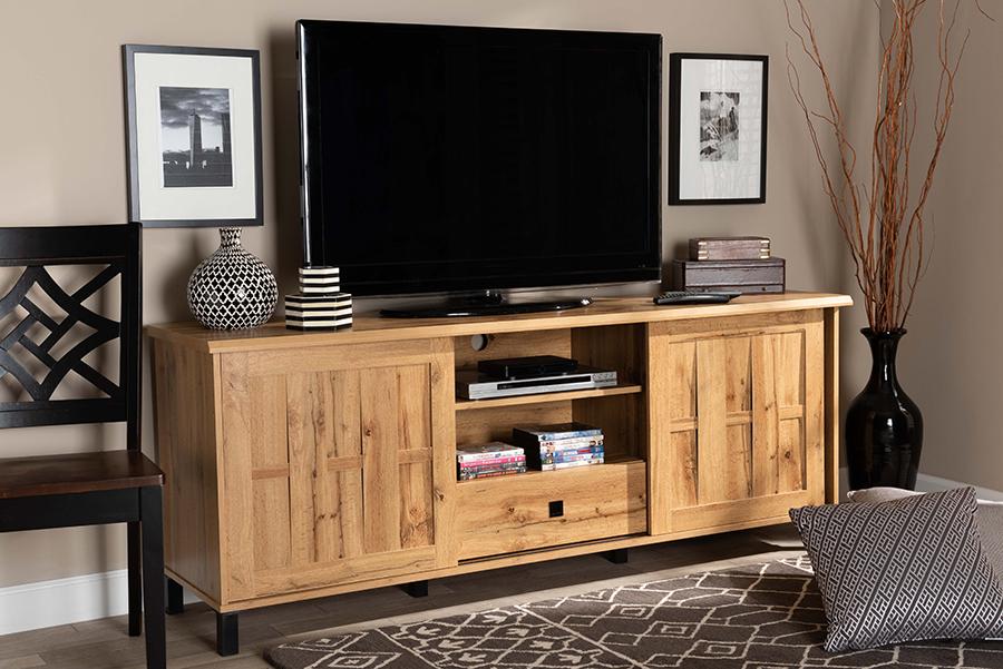 Unna Oak Brown Wood 2 Door TV Stand | Baxton Studio