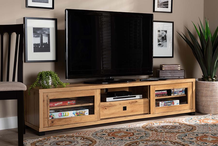 Beasley Oak Brown Wood 1 Drawer TV Stand | Baxton Studio