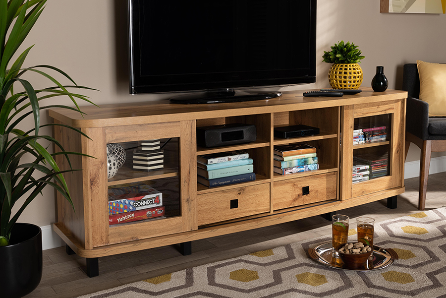 Walda Oak Brown Wood 2 Drawer TV Stand | Baxton Studio