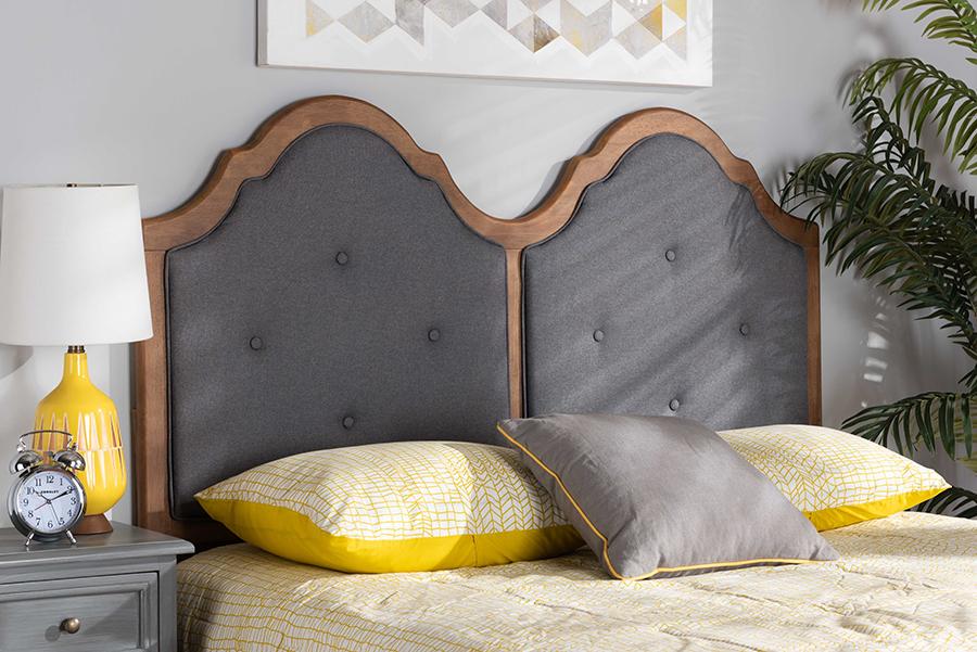 Falk Dark Grey Fabric Walnut Wood Queen Headboard | Baxton Studio