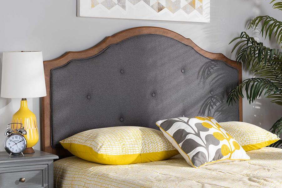 Gala Dark Grey Fabric Walnut Wood Queen Headboard | Baxton Studio