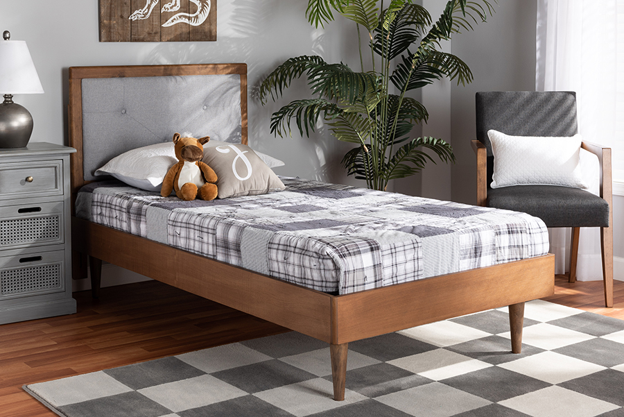 Saul Light Grey Fabric Walnut Wood Twin Platform Bed | Baxton Studio
