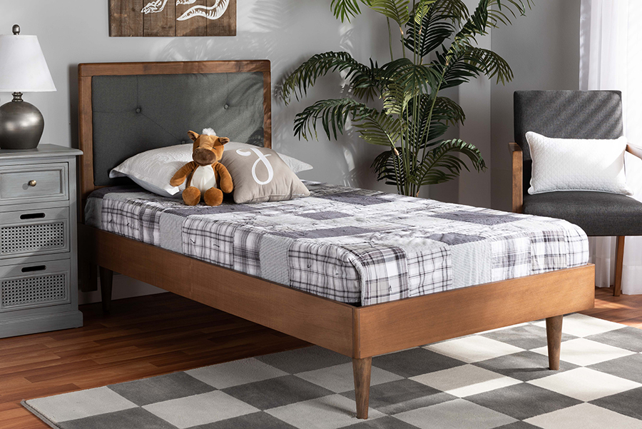 Saul Dark Grey Fabric Walnut Wood Twin Platform Bed | Baxton Studio