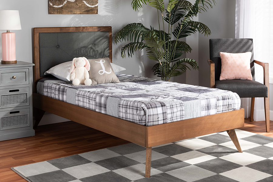 Laima Dark Grey Fabric Walnut Wood Twin Platform Bed | Baxton Studio