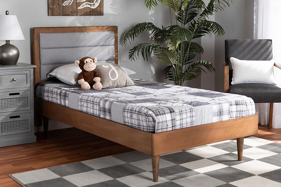 Seren Light Grey Fabric Walnut Wood Twin Platform Bed | Baxton Studio