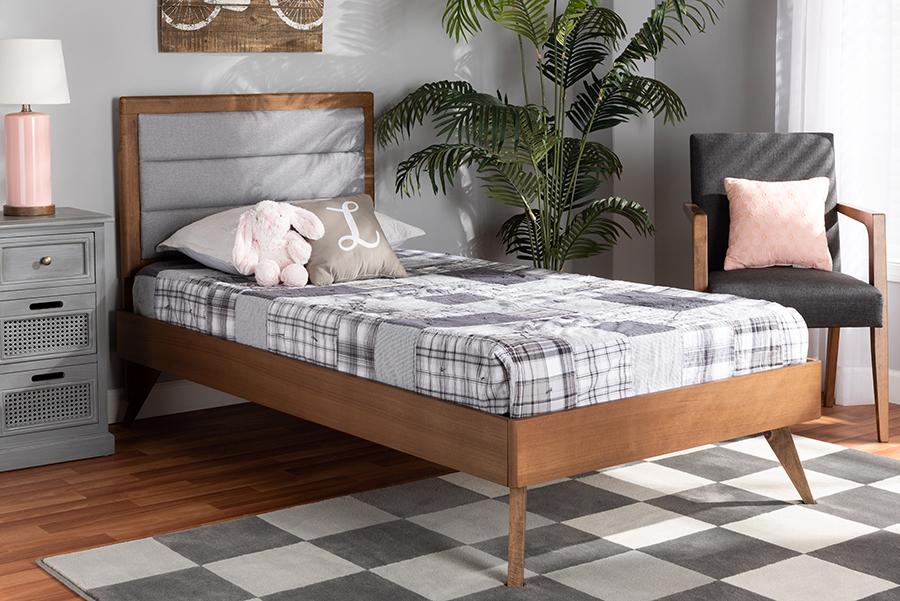 Linn Light Grey Fabric Walnut Wood Twin Platform Bed | Baxton Studio