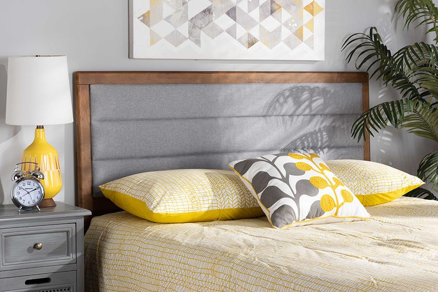 Dexter Light Grey Fabric Walnut Wood King Headboard | Baxton Studio
