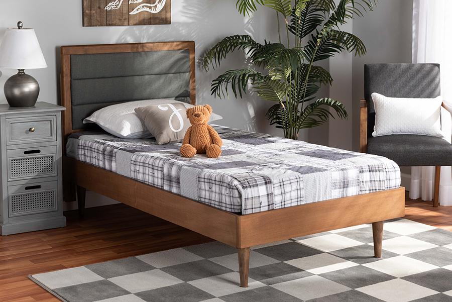 Seren Dark Grey Fabric Walnut Wood Twin Platform Bed | Baxton Studio