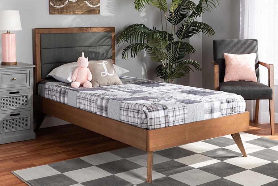 Linn Dark Grey Fabric Walnut Wood Twin Platform Bed | Baxton Studio